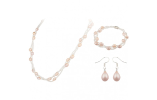 Freshwater Pearl Three Piece Set - Pink- $22 with Free Shipping
