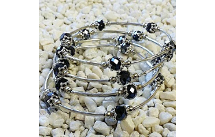 Fashion Black Abacus Glass Bead Wrap Bracelet- $9.95 with Free Shipping