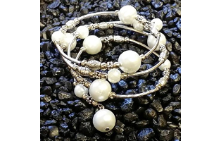 Fashion White Pearlescent Wrapped Bracelet- $9.95 with Free Shipping