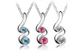 18K Austrian Gold & Rhodium Plated Cubic Zirconia Crystal Pendant Set - $13 with FREE Shipping!