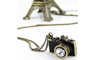 Vintage Camera Style with Cubic Zirconia Crystal Pendant Necklace - $13 with FREE Shipping!