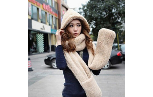 Hooded Scarf with Attached Mittens - $23.50 with FREE Shipping!